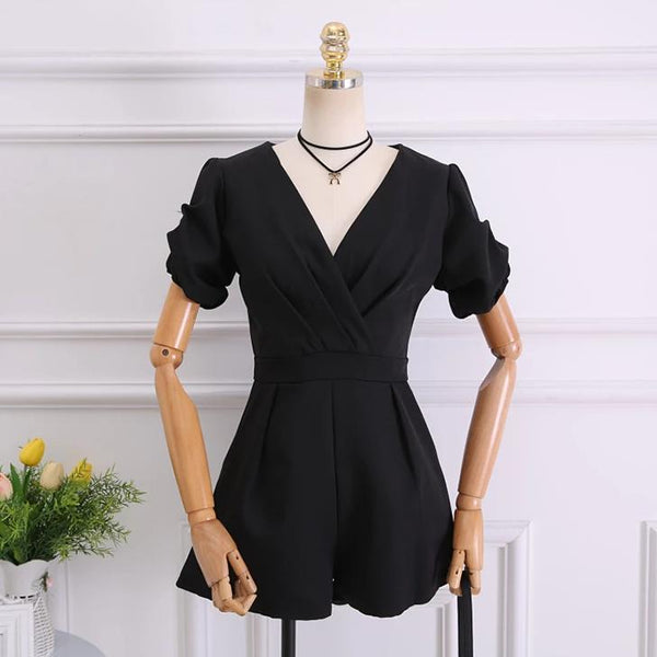 (Pre-Order) Balloon Sleeves V Neck Romper In Black