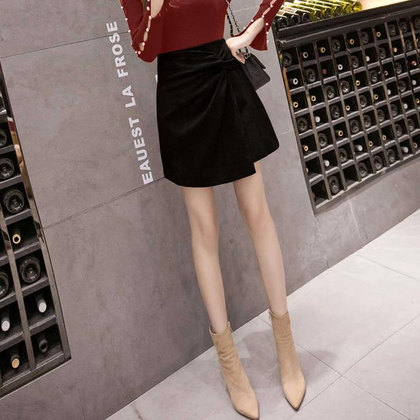 (Pre-Order) Loop Asymmetrical Skirt In Black