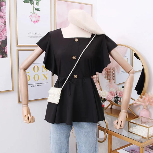 (Pre-Order) Square Ruffles Sleeve Top in Black