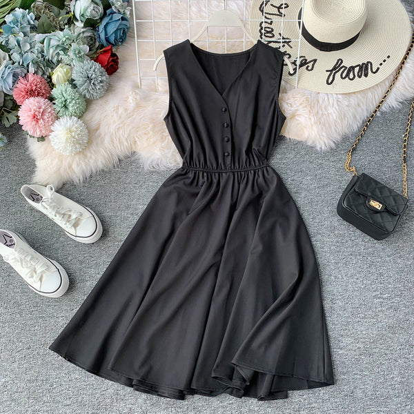 (Pre Order) Sleeveless V Neck High Waist Dress In Black
