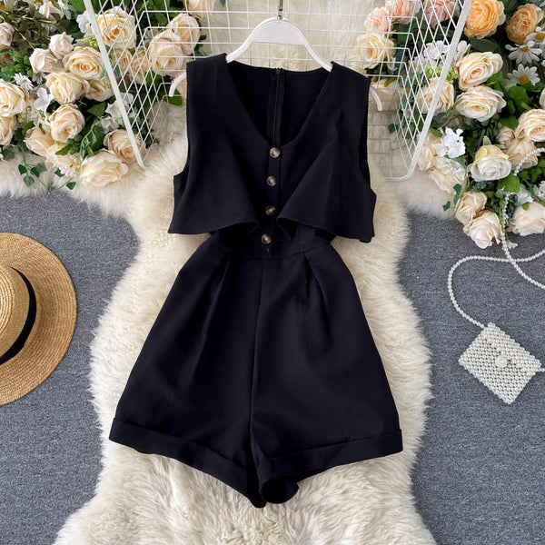 (Pre-Order) Sleeveless V Neck High Waist Wide Leg Romper in Black