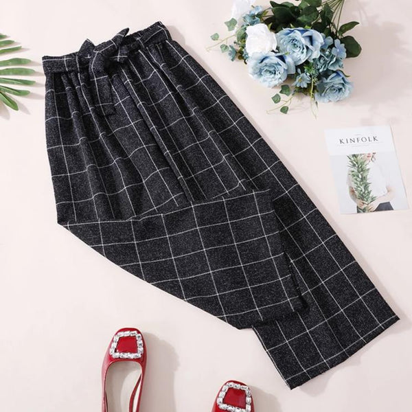 (Pre-Order) Ribbon Grid Culottes In Black