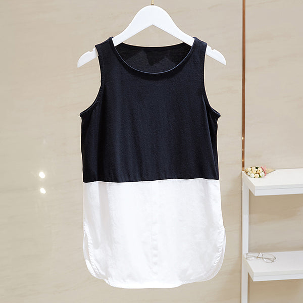 (Pre-Order) Basic Sleeveless Patched Top in Black