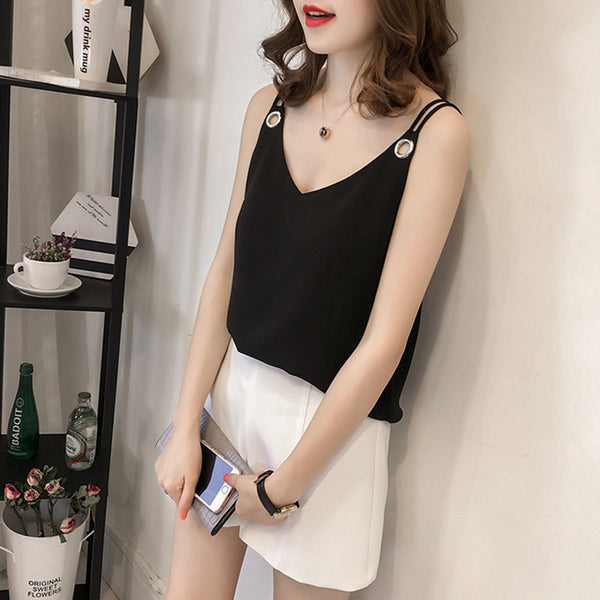 (Pre-Order) Basic Sleeveless Loose Fit Ring Spag Top in Black
