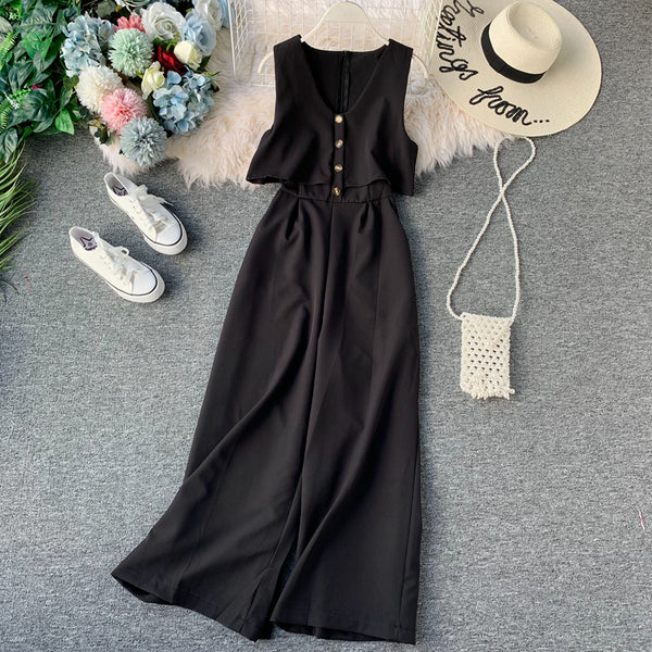 (Pre-Order) Sleeveless V Neck High Waist Wide Leg Jumpsuit in Black