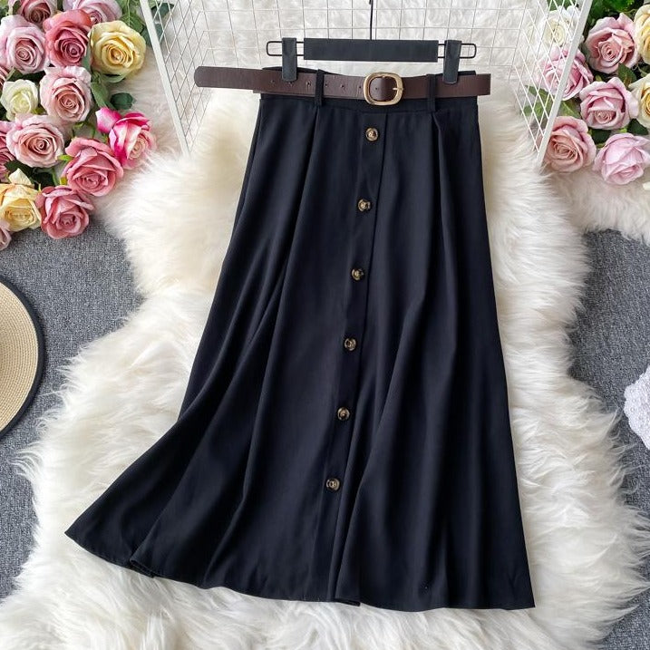 (Pre-Order) High Waist Buttons A-Line Midi Skirt in Black