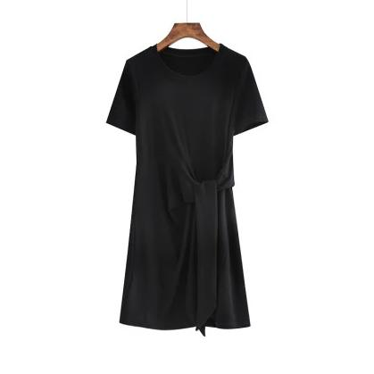 (Pre-Order) Round Neck Side Octopus Sleeve Dress in Black