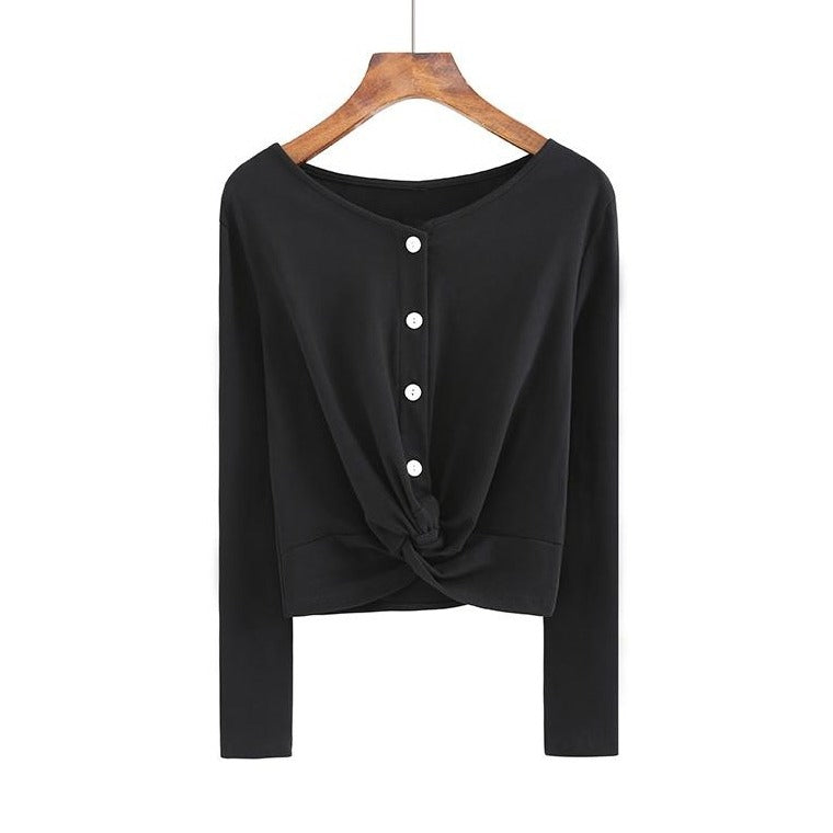 (Pre-Order) Button Up Loop Long Sleeve Cropped Top in Black