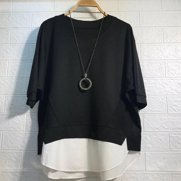 (Pre-Order) Mock 2 Piece Contrast Loose Fit Top in Black