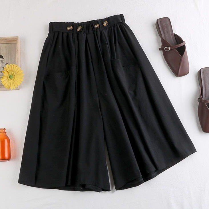 (Pre-Order) Front Pockets Wide Leg Loose Fit Pants in Black