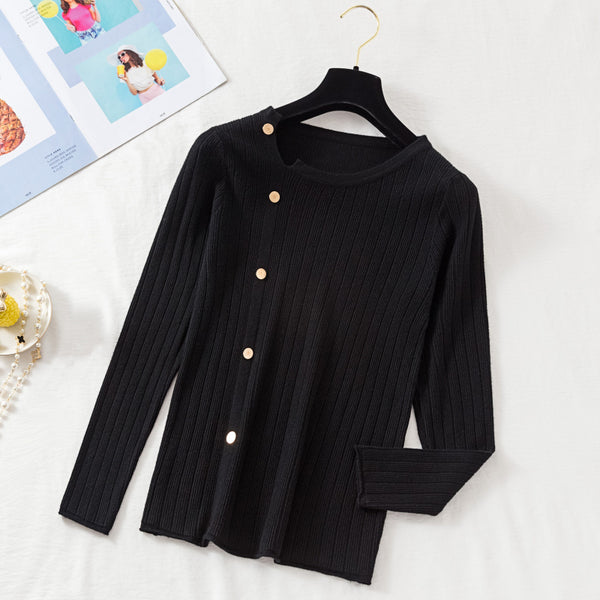 (Pre-Order) Asymmetrical Collar Long Sleeve Knit Side Buttons Top in Black