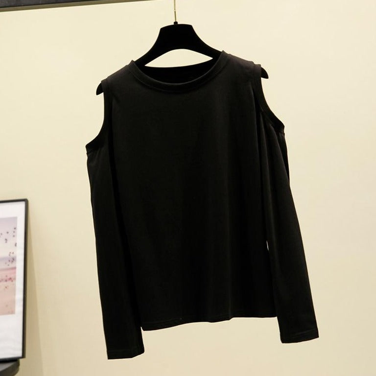 (Pre-Order) Basic Cold Shoulder Long Sleeve Top in Black