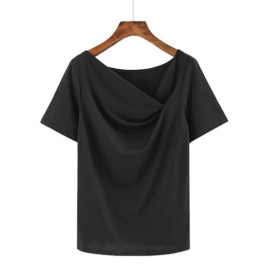 (Pre-Order) Asymmetrical Slanted Neck Top in Black