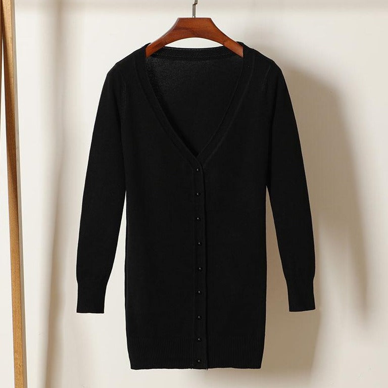 (Pre-Order) V Neck Button Knit Long Cardigan in Black