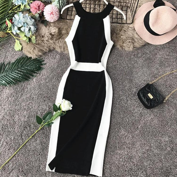 (Pre Order) Contrast Halter Bodycon Midi Dress in Black