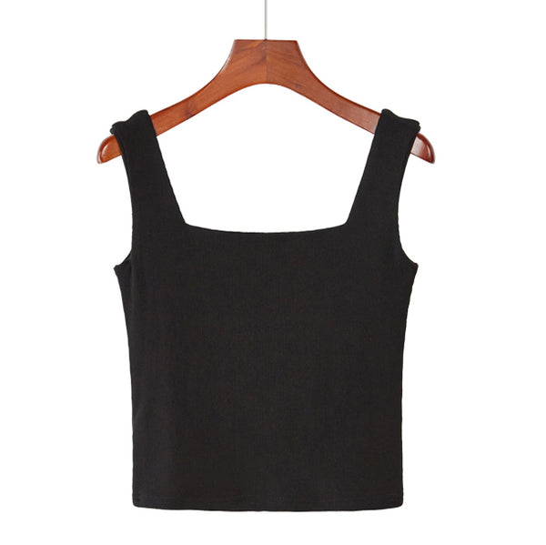 (Pre-Order) Basic Square Neck Sleeveless Cropped Top in Black