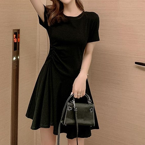 (Pre-Order) Basic Side Gathered Skater Dress in Black