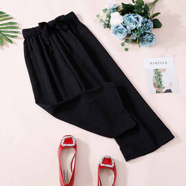 (Pre-Order) Ribbon Basic Culottes In Black