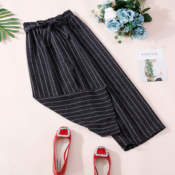 (Pre-Order) Ribbon Stripes Culottes In Black