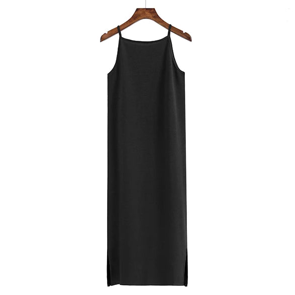 (Pre Order) Basic Spag Side Slit Midi Dress in Black