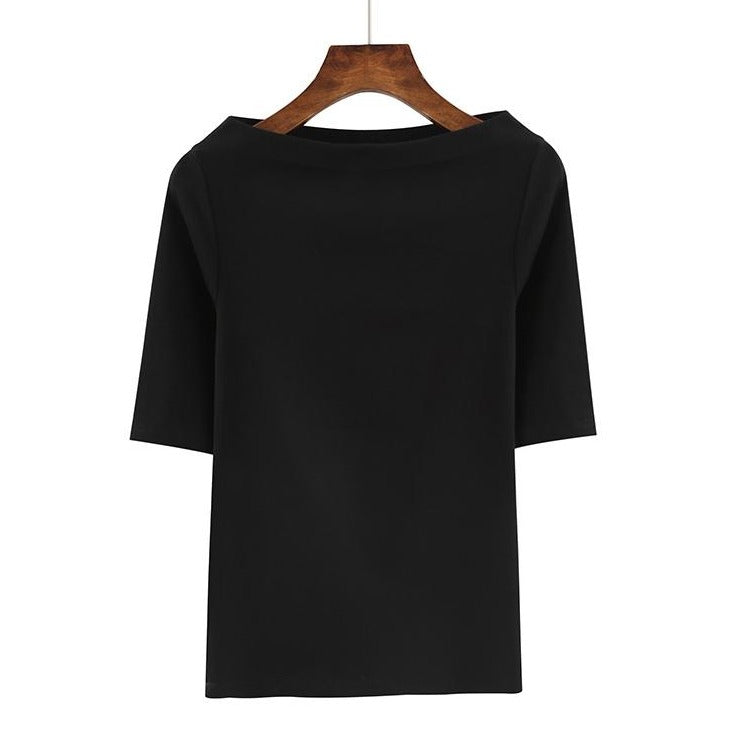 (Pre-Order) Cold-Shoulder Quarter Sleeves Top in Black