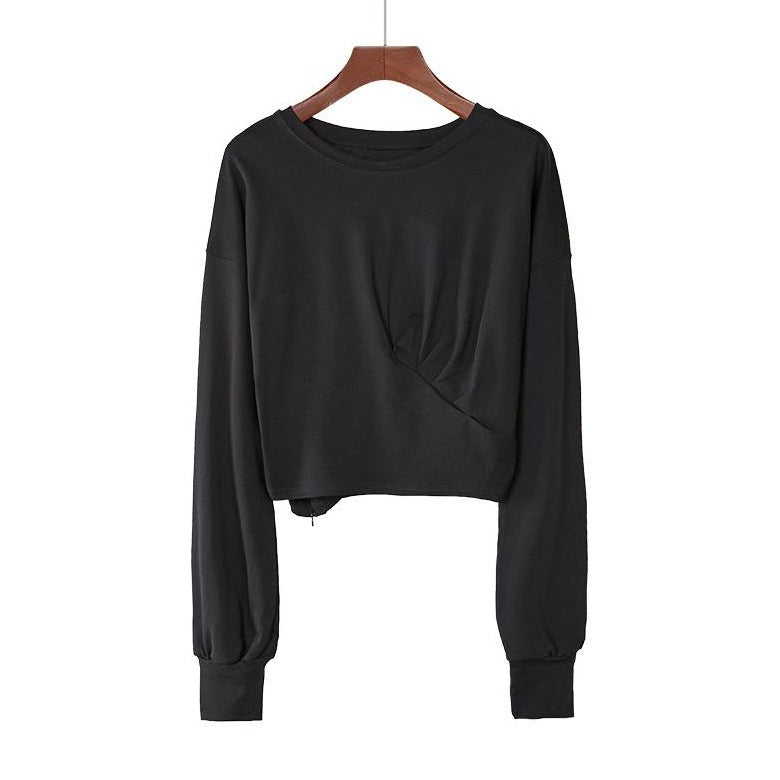 (Pre-Order) Basic Cropped Loose Fit Long Sleeve Top in Black