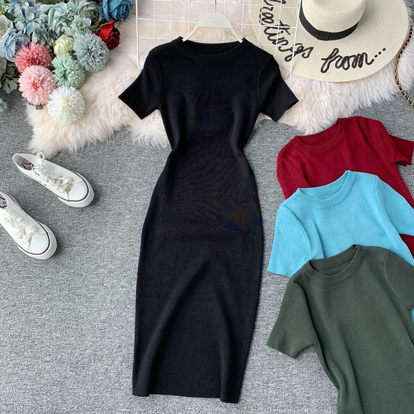 (Pre-Order) Round Neck Knit Sleeve Bodycon Midi Dress in Black