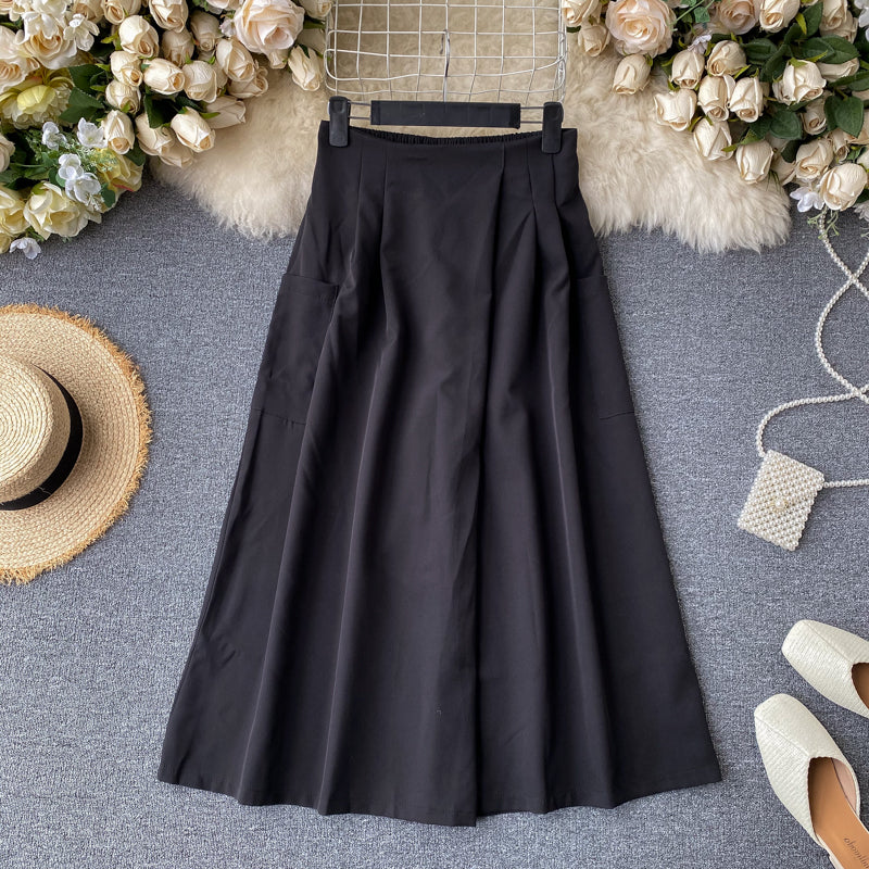 (Pre-Order) Side Pockets High Waist Wide Leg Culottes in Black