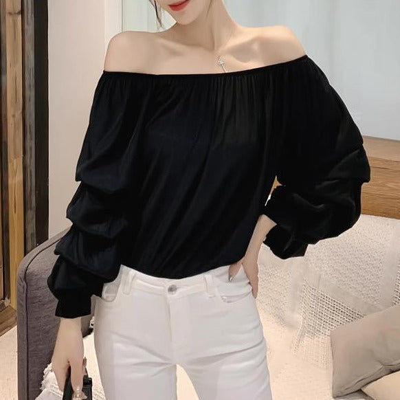 (Pre-Order) Off-Shoulder Balloon Sleeve Top in Black