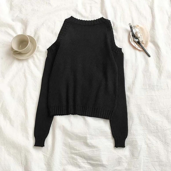 (Pre-Order) Long Sleeve Knit Cold-Shoulder Top in Black