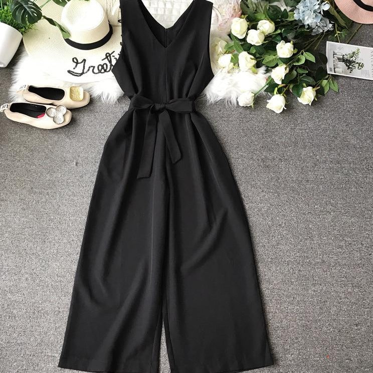 (Pre-Order) High Waist Wide Leg Sleeveless V Neck Culottes Jumpsuit in Black