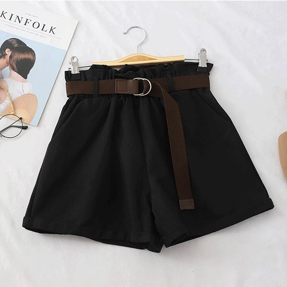 (Pre-Order) Basic High Waist Wide Leg Shorts Black