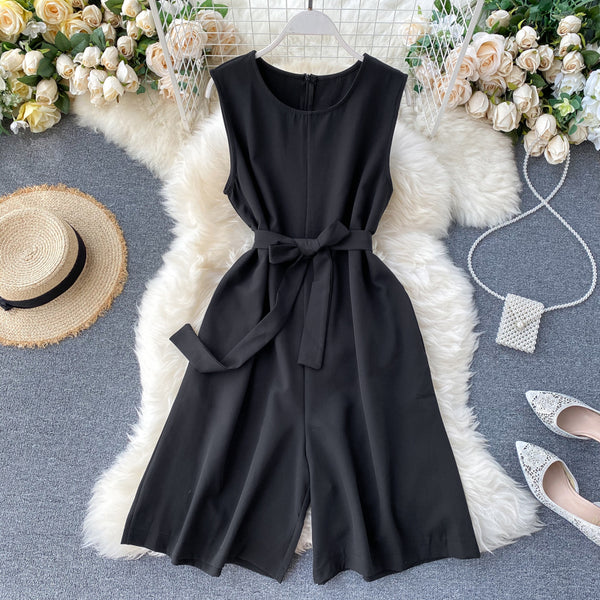 (Pre-Order) Sleeveless Ribbon Tie Wide Leg Romper in Black