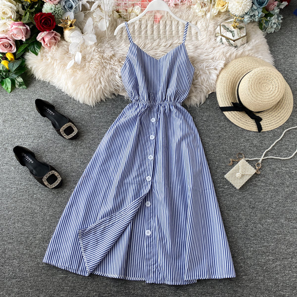 (Pre Order) Button Up Spag V Neck Back Cut-Out Ribbon Tie Midi Dress in Blue