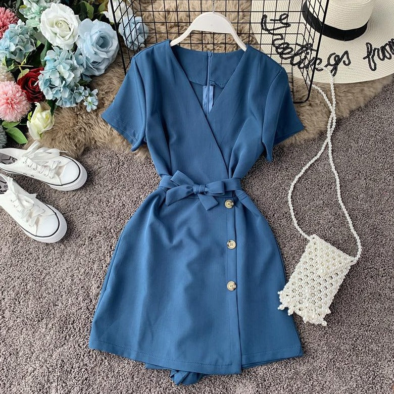 (Pre-Order) V-Neck Overlap Side Button Romper in Blue