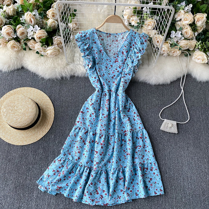 (Pre-Order) Floral V Neck Ruffles Sleeve Gypsy Midi Dress in Blue