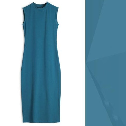 (Pre-Order) Basic Round Neck Sleeveless Bodycon Dress in Blue