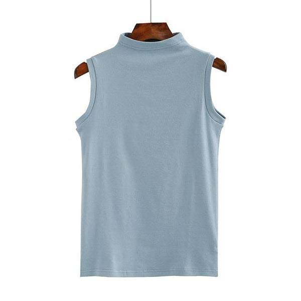 (Pre-Order) Mid-High Neck Sleeveless Top in Blue