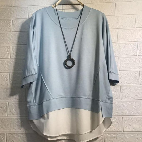(Pre-Order) Mock 2 Piece Contrast Loose Fit Top in Blue