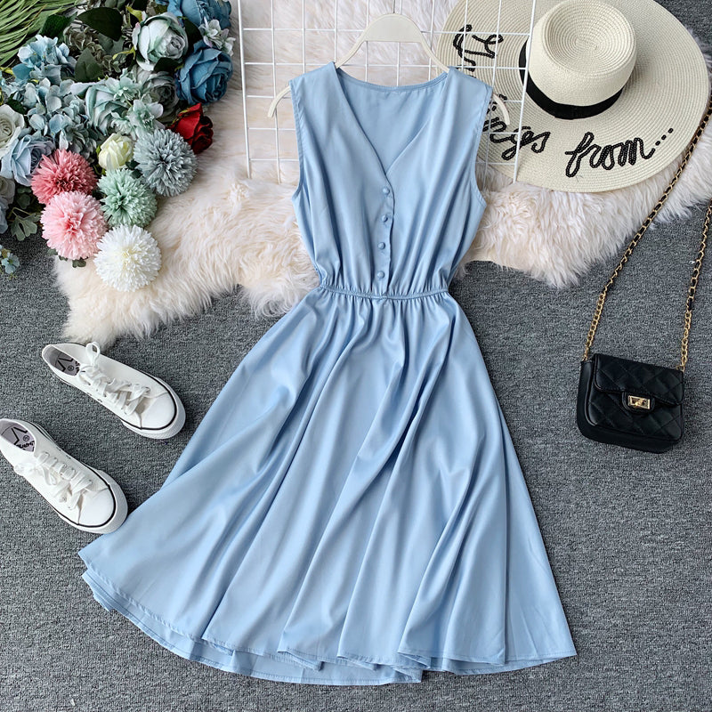 (Pre Order) Sleeveless V Neck High Waist Dress In Blue