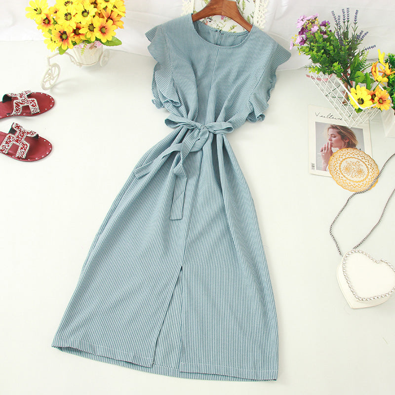 (Pre-Order) Pinstripes Ruffles Sleeve Front Slit Loose Fit Midi Dress in Blue