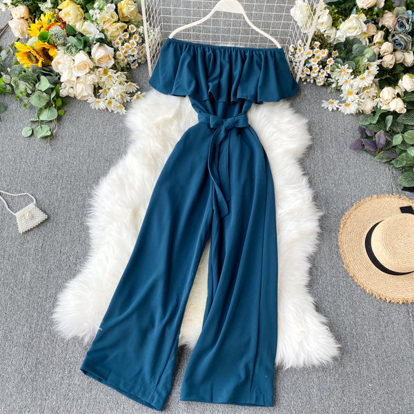 (Pre-Order) Off-Shoulder Ruffles High Waist Wide Leg Jumpsuit in Blue