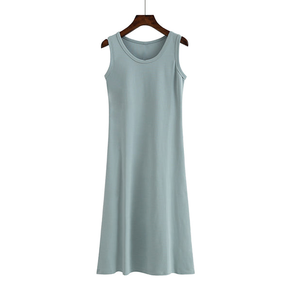 (Pre Order) Round Neck Sleeveless Midi Dress in Blue