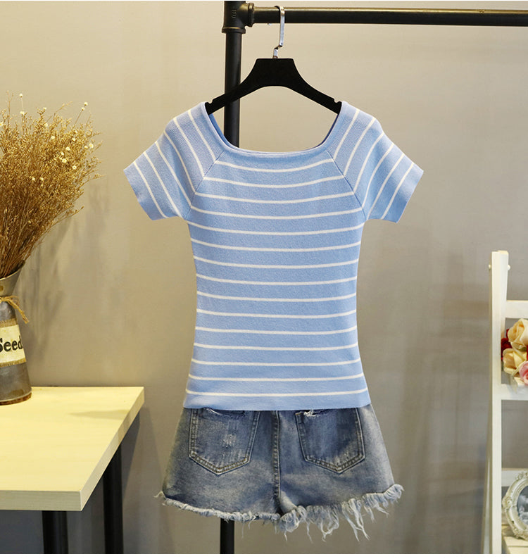 (Pre-Order) Basic Wide Neck Contrast Stripes Top in Blue