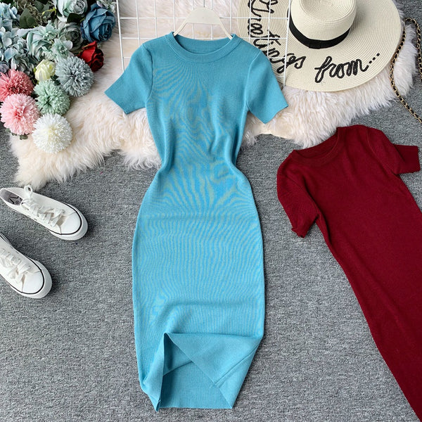 (Pre-Order) Round Neck Knit Sleeve Bodycon Midi Dress in Blue