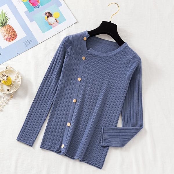 (Pre-Order) Asymmetrical Collar Long Sleeve Knit Side Buttons Top in Blue