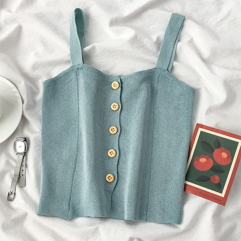 (Pre-Order) Knitted Button Up Straight Top in Blue