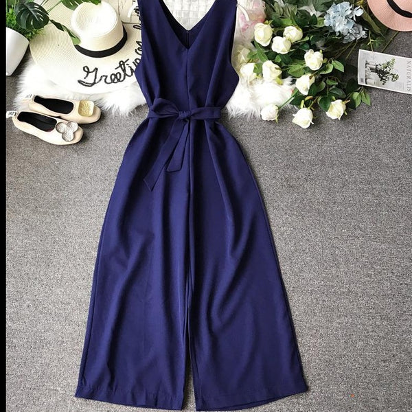 (Pre-Order) High Waist Wide Leg Sleeveless V Neck Culottes Jumpsuit in Blue