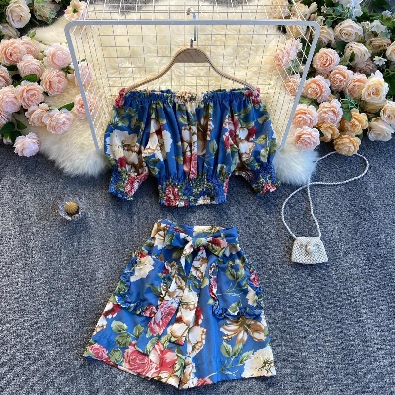 (Pre-Order) 2 Piece Floral Off-Shoulder Balloon Sleeve Cropped Top High Waist Wide Leg Suit in Blue