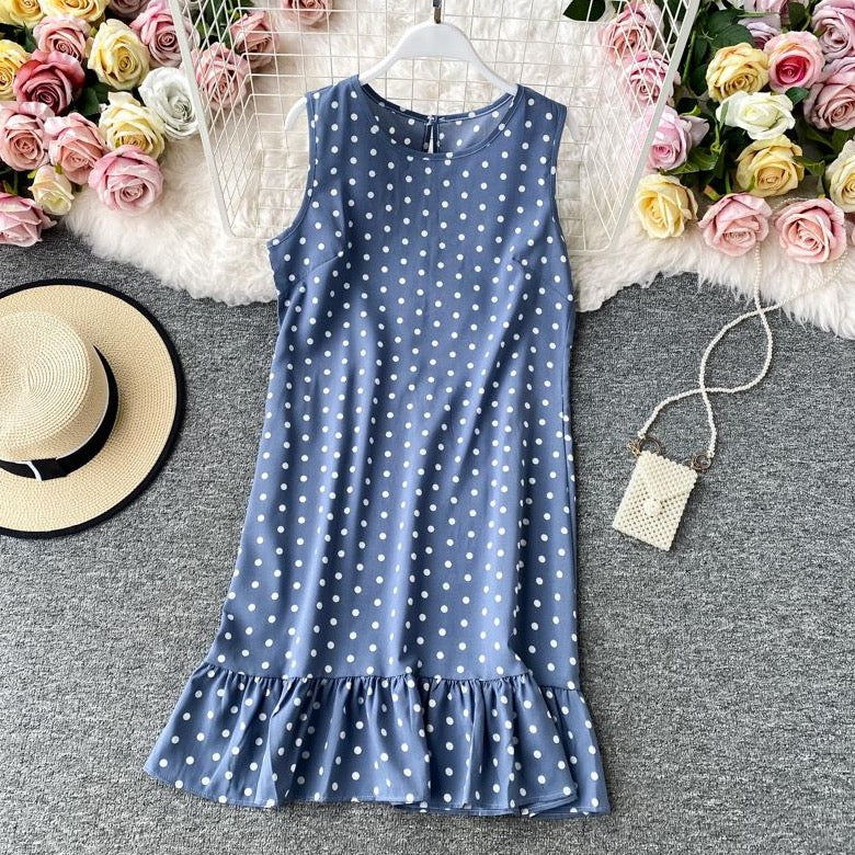 (Pre-Order) Basic Ruffles Polka Dots Sleeveless Loose Fit Shift Dress in Blue